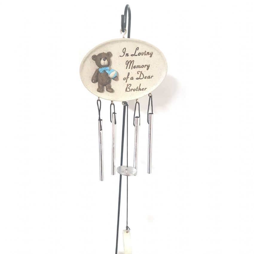 In Loving Memory Of A Dear Brother - Wind Chimes & Stake Memorial Grave Ornament By David Fischhoff